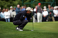 Padraig Harrington lines up his putt on the 9th green on during the third round of the Irish Open on 19th of May 2007 at the Adare Manor Hotel & Golf Resort, Co. Limerick, Ireland. (Photo by Eoin Clarke/NEWSFILE)..