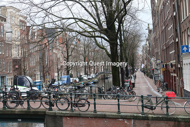 Various scenes with bicycles in Amsterdam, Holland. Taken in 2018.<br />