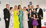 LOS ANGELES, CA - SEPTEMBER 23: Jesse Tyler Ferguson, Ariel Winter, Julie Bowen, Sofía Vergara, Sarah Hyland, Nolan Gould, Ty Burrell, Ed O'Neill, Rico Rodriguez, Aubrey Anderson-Emmons and Eric Stonestreet pose in the press room at the 64th Primetime Emmy Awards held at Nokia Theatre L.A. Live on September 23, 2012 in Los Angeles, California.