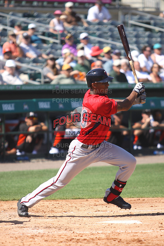 Bryan Buxton (70) of the Minnesota Twins at bat during a Grapefruit League Spring Training game at the Roger Dean Complex on March 4, 2014 in Jupiter, Florida. Miami defeated Minnesota 3-1. (Stacy Jo Grant/Four Seam Images)