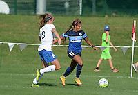 Kansas City, MO - Sunday August 28, 2016: Julie King, Frances Silva during a regular season National Women's Soccer League (NWSL) match between FC Kansas City and the Boston Breakers at Swope Soccer Village.