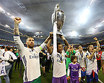 Sergio Ramos of Real Madrid and Marcelo of Real Madrid with the trophy during the Champions League Final match at the Millennium Stadium, Cardiff. Picture date: June 3rd, 2017.Picture credit should read: David Klein/Sportimage