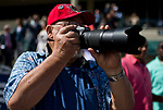 HALLANDALE BEACH, FL - JANUARY 27: A spectator takes photos as he enjoys the races on  Pegasus World Cup Invitational Day at Gulfstream Park Race Track on January 27, 2018 in Hallandale Beach, Florida. (Photo by Scott Serio/Eclipse Sportswire/Getty Images)