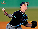 Pitcher Zach McKay (35) of the Citadel in a game against the University of South Carolina Upstate Spartans on Tuesday, February, 18, 2014, at Cleveland S. Harley Park in Spartanburg, South Carolina. Upstate won, 6-2. (Tom Priddy/Four Seam Images)