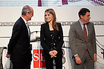 Princess Letizia of Spain attends the 'El Barco de Vapor' literature awards in the presence of the President of Madrid Region Jose Ignacio Gonzalez (r) and the Chairman of the Editorial SM Javier Cortes.April 9, 2013.(ALTERPHOTOS/Acero)
