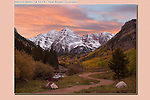 Photoshop. Sunset added to the Maroon Bells Peaks, near Aspen, Colorado.