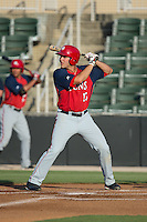 Jeff Gardner (13) of the Hagerstown Suns at bat against the Kannapolis Intimidators at CMC-Northeast Stadium on June 16, 2015 in Kannapolis, North Carolina.  The Suns defeated the Intimidators 8-4.  (Brian Westerholt/Four Seam Images)