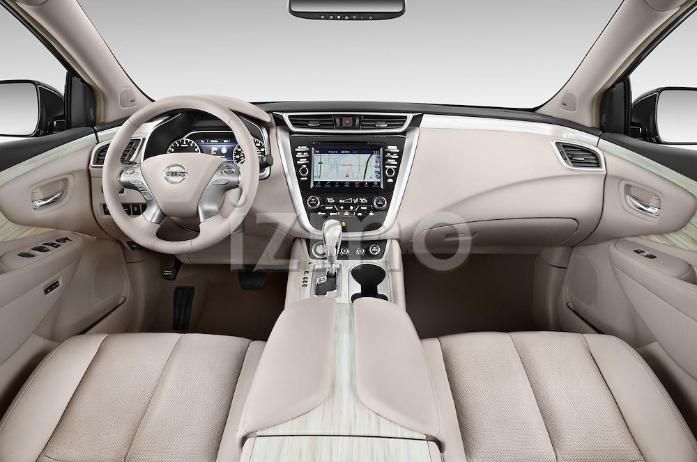 Stock photo of straight dashboard view of a 2015 Nissan Murano Platinum 5 Door SUV Dashboard