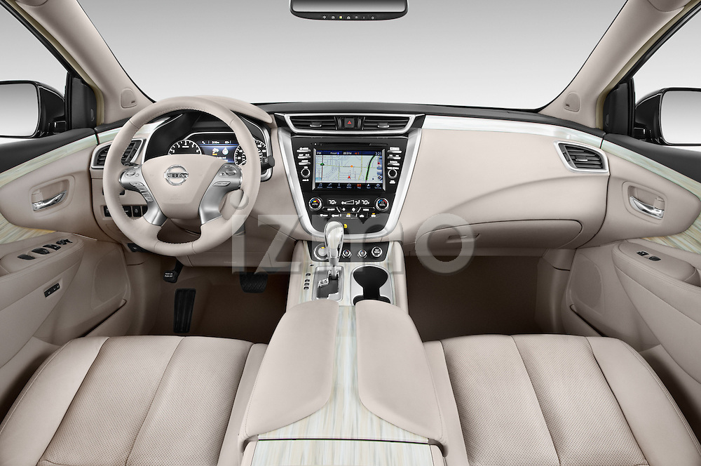Stock photo of straight dashboard view of a 2018 Nissan Murano Platinum 5 Door SUV Dashboard