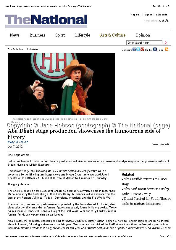 Horrible Histories - The National - Abu Dhabi stage production showcases the humorous side of history