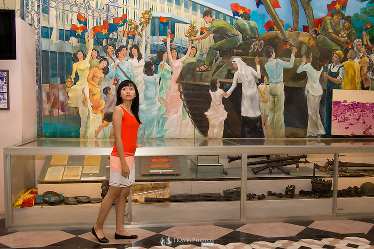 A young lady exploring the Ho Chi Minh City Museum (former Vice Presidential palace).<br />