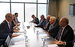 Palestinian President Mahmoud Abbas meets with Irish Foreign Minister in Dublin, Ireland on September 22, 2018. Photo by Thaer Ganaim