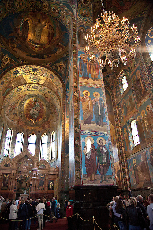 Magnificent interior of Church of the Savior on Spilled Blood in St. Petersburg,Russia