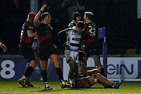 Elliot Dee celebrates with Pat Howard of Dragons after he scores their fourth try of the game during the European Challenge Cup match between Dragons and Bordeaux Begles at Rodney Parade, Newport, Wales, UK. 20 January 2018