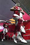 Arizona Cardinals wide receiver Larry Fitzgerald takes the field before an NFL game.