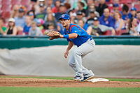 South Bend Cubs first baseman Austin Upshaw (16) waits to receive a throw during a game against the Kane County Cougars on July 21, 2018 at Northwestern Medicine Field in Geneva, Illinois.  South Bend defeated Kane County 4-2.  (Mike Janes/Four Seam Images)