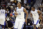 Freshmand guard John Wall celebrates after Darius Miller makes a three pointer during the first half of UK's second round  win over Wake Forest in the NCAA tournament at New Orleans Arena on Saturday, March 20, 2010. Photo by Britney McIntosh | Staff