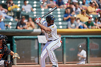 Jabari Blash (36) of the Salt Lake Bees bats against the Fresno Grizzlies at Smith's Ballpark on September 3, 2018 in Salt Lake City, Utah. The Grizzlies defeated the Bees 7-6. (Stephen Smith/Four Seam Images)