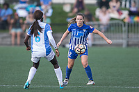 Allston, MA - Saturday August 19, 2017: Chioma Ubogagu, Allysha Chapman during a regular season National Women's Soccer League (NWSL) match between the Boston Breakers and the Orlando Pride at Jordan Field.