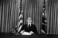 Washington DC. White House. November 8th, 1973. President Richard Nixon addressing a speach  on TV about the energy crisis.