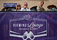 DEL MAR, CA - NOVEMBER 03: Spectators watch the races from the Breeders' Cup viewing lounge on Day 1 of the 2017 Breeders' Cup World Championships at Del Mar Racing Club on November 3, 2017 in Del Mar, California. (Photo by Scott Serio/Eclipse Sportswire/Breeders Cup)