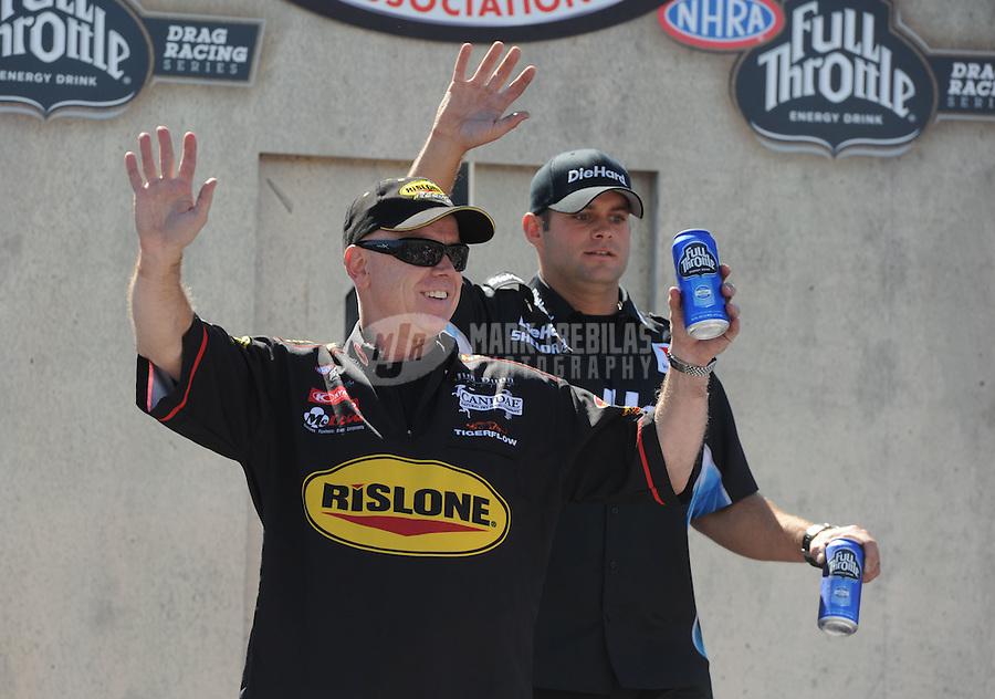 May 15, 2011; Commerce, GA, USA: NHRA funny car driver Paul Lee (front) and Matt Hagan during the Southern Nationals at Atlanta Dragway. Mandatory Credit: Mark J. Rebilas-