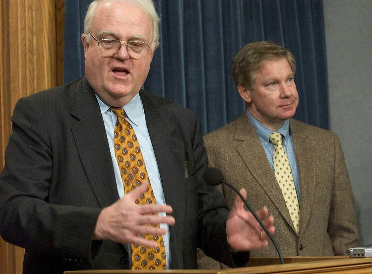 12/08/04.INTELLIGENCE REFORM/IMMIGRATION--House Judiciary Chairman F. James Sensenbrenner Jr., R-Wis., and House Government Reform Chairman Thomas M. Davis III, R-Va., during a news conference on the immigration measure they will pursue early next year that would include many of the provisions that were dropped from the intelligence overhaul legislation, including one that would prevent illegal immigrants from getting driverÕs licenses..CONGRESSIONAL QUARTERLY PHOTO BY SCOTT J. FERRELL