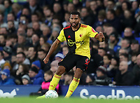 29th October 2019; Goodison Park, Liverpool, Merseyside, England; English Football League Cup, Carabao Cup Football, Everton versus Watford; Adrian Mariappa of Watford controls the ball near the touchline - Strictly Editorial Use Only. No use with unauthorized audio, video, data, fixture lists, club/league logos or 'live' services. Online in-match use limited to 120 images, no video emulation. No use in betting, games or single club/league/player publications