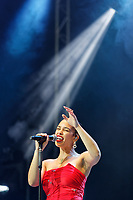 Pictured: Jorja Smith performs on stage. Saturday 26 May 2018<br /> Re: BBC Radio 1 Biggest Weekend at Singleton Park in Swansea, Wales, UK.