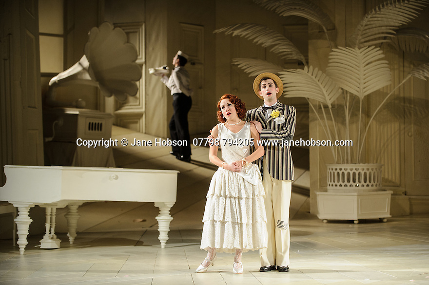London UK. 19.11.2015. English National Opera presents THE MIKADO, by Arthur Sullivan & W. S. Gilbert, directed by Jonathan Miller, at the London Coliseum. Picture shows: Mary Bevan (Yum-Yum), Anthony Gregory (Nanki-Poo). Photograph © Jane Hobson.