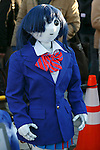 A SoftBank's humanoid robot Pepper dressed with a school uniform on display during the Comic Market 91 (Comiket) event at Tokyo Big Sight on December 29, 2016, Tokyo, Japan. Manga and anime fans arrived in the early morning hours on the opening day of the 3-day long event. Held twice a year in August and December, the Comiket has been promoting manga, anime, game and cosplay culture since its establishment in 1975. (Photo by Rodrigo Reyes Marin/AFLO)