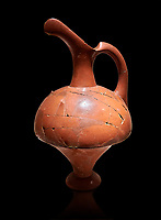 Hittite terra cotta pitcher - 16th century BC - Hattusa ( Bogazkoy ) - Museum of Anatolian Civilisations, Ankara, Turkey . Against black background