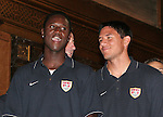 07 June 2006: Players Eddie Johnson (USA) (l) and Brian Ching (USA) (r). The United States Men's National Team was honored at City Hall, the Rathaus, in Hamburg, Germany, where the team is based out of for the FIFA 2006 World Cup tournament.