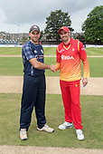 Cricket Scotland - Scotland V Namibia One Day International match at Grange CC today (Thur) - this match is the first of two ODI matches this week against Zimbabwe - team captains Kyle Coetzer and Graeme Cremer shake hands after the toss, won by Scotland - picture by Donald MacLeod - 15.06.2017 - 07702 319 738 - clanmacleod@btinternet.com - www.donald-macleod.com