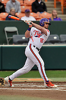 Designated hitter Reed Rohlman (26) of the Clemson University Tigers bats in a game against the Wofford College Terriers on Tuesday, March 1, 2016, at Doug Kingsmore Stadium in Clemson, South Carolina. Clemson won, 7-0. (Tom Priddy/Four Seam Images)