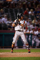 Aberdeen IronBirds designated hitter Alexis Torres (35) at bat during a game against the Tri-City ValleyCats on August 27, 2018 at Joseph L. Bruno Stadium in Troy, New York.  Aberdeen defeated Tri-City 11-5.  (Mike Janes/Four Seam Images)
