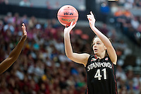 DENVER, CO--Bonnie Samuelson hits three against Baylor during the semifinals of the 2012 NCAA Women's Final Four in Denver, CO. The Cardinal fell to the Bears 47-59.