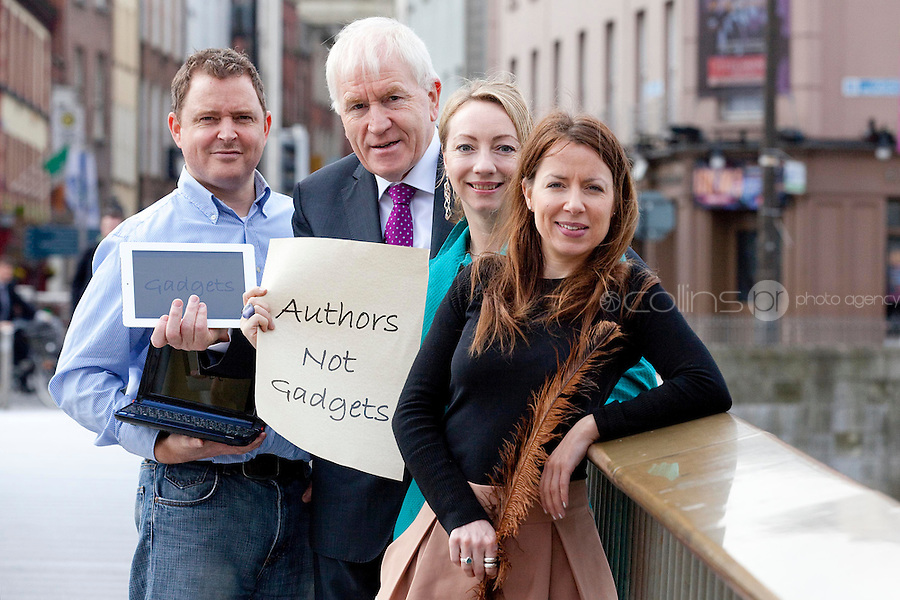 """NO REPRO FEE. Authors not Gadgets. Pictured are L-R  Darragh O'Connell, Oscar Nominated Brownbag Films based in Dublin (""""Octonauts""""), Jimmy Deenihan TD, Minister of Arts, Heritage and Gaeltacht Affairs, Juanita Wilson, Oscar nominated Irish filmmaker (The Door, As If I Am Not There) and Birch Hamilton , Executive Director, Screen Directors Guild of Ireland (SDGI). The Screen Directors Guild of Ireland (SDGI) welcomed a large number of directors and writers from across the globe to a high-profile international conference in The Morrison Hotel, Dublin today. The conference has a particular focus on the issue of authors' rights as many directors and writers are struggling to have their voices heard amidst the technological clatter and noise. Picture James Horan/Collins Photos"""