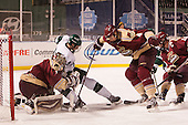 Chris Czarnota (Norwich - 1), Troy Starrett (Babson - 21), Erik Lyrvall (Norwich - 4), Travis Janke (Norwich - 19) - The Norwich University Cadets defeated the Babson College Beavers 1-0 on Thursday, January 9, 2014, at Fenway Park in Boston, Massachusetts.