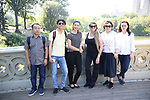 Zhenzhu Ma, Yanping Ma, Bonnie Comley, Xuejiao Bai, Wen Chen and Zhiyong Liu, Central Academy of Drama: Professors visit Bethesda Terrace and Fountain on September 25, 2017 at the The Central Park Summer Stage  in New York City.