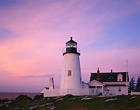 Lincoln County, ME<br /> Pemaquid Point Lighthouse (1835) with dawn colored sky above the Gulf of maine. on Permaquid Point