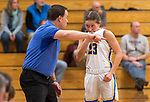 WINSTED,  CT-021919JS22- Housatonic head coach Steve Dodge gives instructions to Christina Winburn (23) during a break in the action of their Berkshire League semi-final game against Nonnewaug Tuesday at Northwestern Regional High School in Winsted. <br /> Jim Shannon Republican American