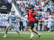 Baltimore, MD - April 28, 2018: Maryland Terrapins Connor Kelly (1) attempts a shot during game between John Hopkins and Maryland at  Homewood Field in Baltimore, MD.  (Photo by Elliott Brown/Media Images International)