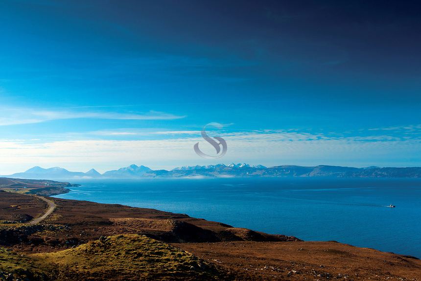 Skye and the Sound of Raasay from the North Coast 500 near Applecross, Applecross Peninsula, Northwest Highlands