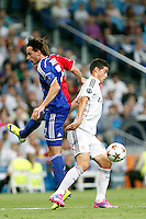 James of Real Madrid and Zuffi of FC Basel 1893 during the Champions League group B soccer match between Real Madrid and FC Basel 1893 at Santiago Bernabeu Stadium in Madrid, Spain. September 16, 2014. (ALTERPHOTOS/Caro Marin) /NortePhoto.com
