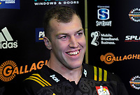 Chiefs captain Brodie Retallick at the post-match presser after the Super Rugby match between the Chiefs and Hurricanes at FMG Stadium in Hamilton, New Zealand on Friday, 13 July 2018. Photo: Dave Lintott / lintottphoto.co.nz