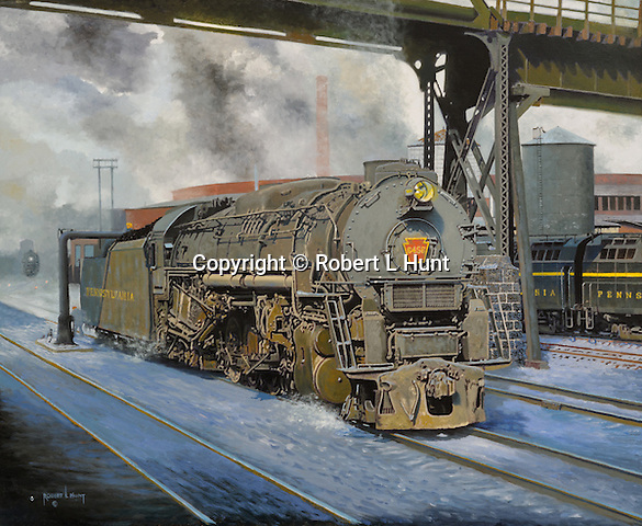 "A large Pennsylvania Railroad J1 steam locomotive taking on water in East Altoona during the last days of steam railroading in 1955. Oil on canvas, 23"" x 28""."