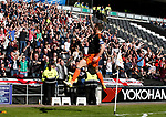 Billy Sharp of Sheffield Utd celebrates his first goal of the match and his 200th for the blades during the English League One match at  Stadium MK, Milton Keynes. Picture date: April 22nd 2017. Pic credit should read: Simon Bellis/Sportimage
