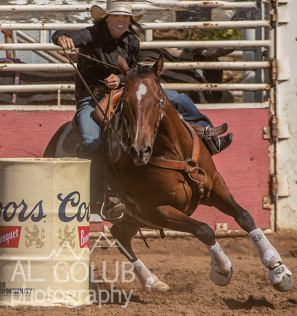 Barrel Racer Stacy Hampton from Madera, California at the 62nd annual Mother Lode Round-up on Sunday, May 12, 2019 in Sonora, California.  Photo by Al Golub