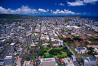 Aerial view of downtown Honolulu and surrouding area.